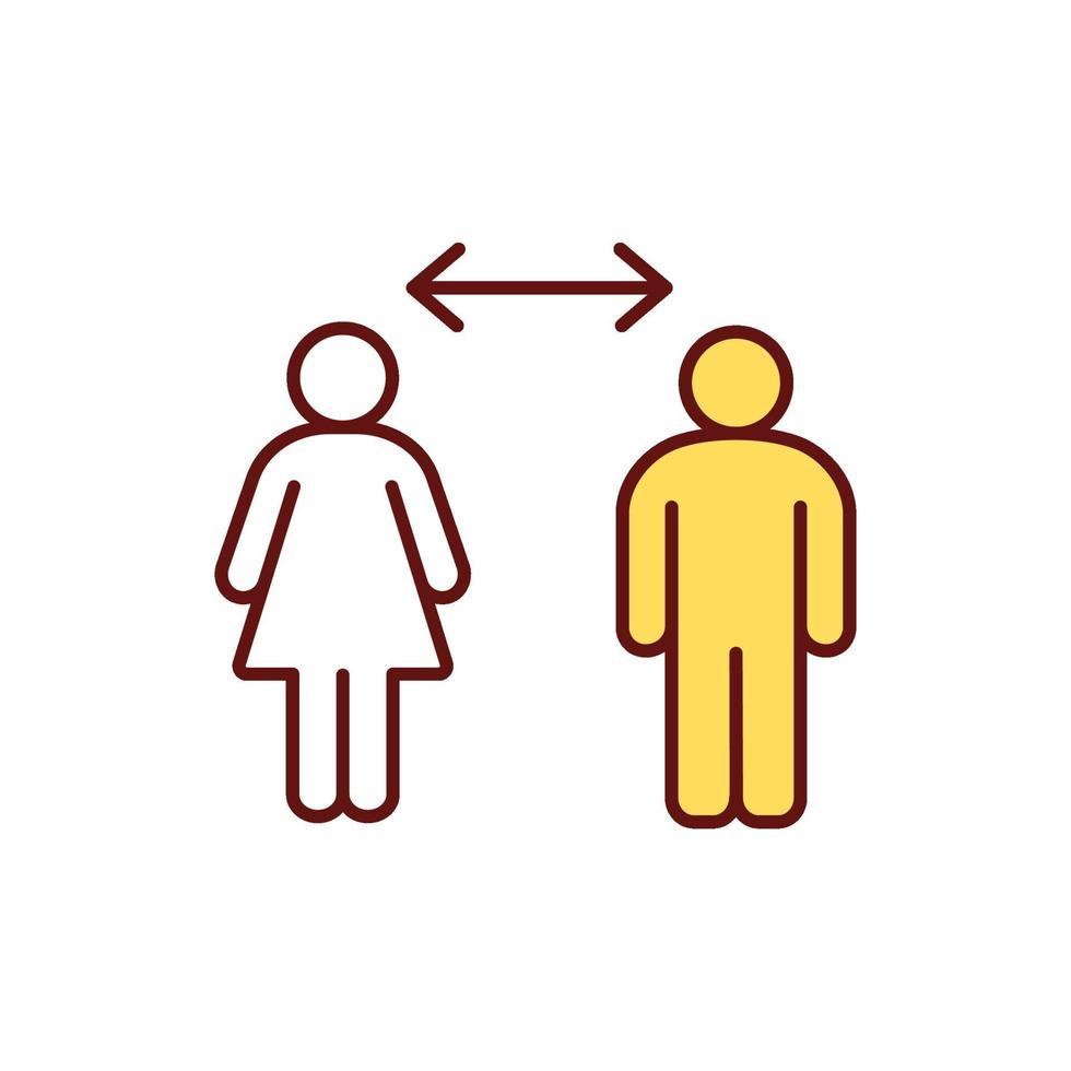 ícone de cor rgb de distanciamento social vetor