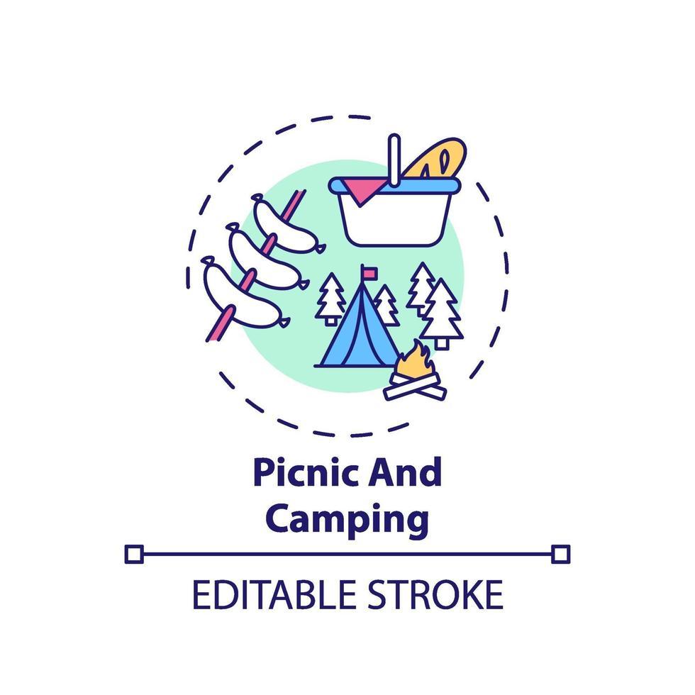 ícone de conceito de piquenique e camping vetor
