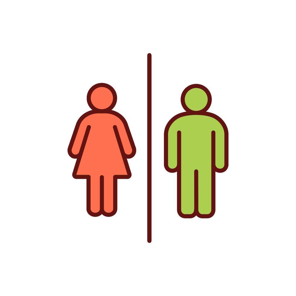 ícone de cor rgb de acesso ao banheiro vetor