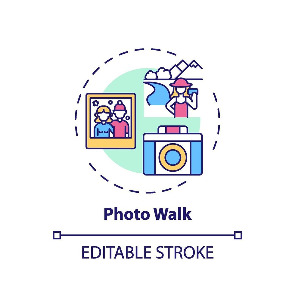 ícone do conceito de caminhada fotográfica vetor