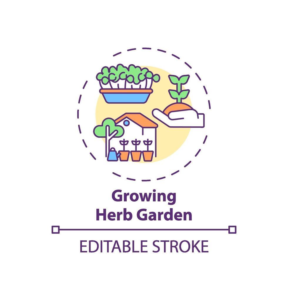 ícone de conceito de jardim de ervas em crescimento vetor