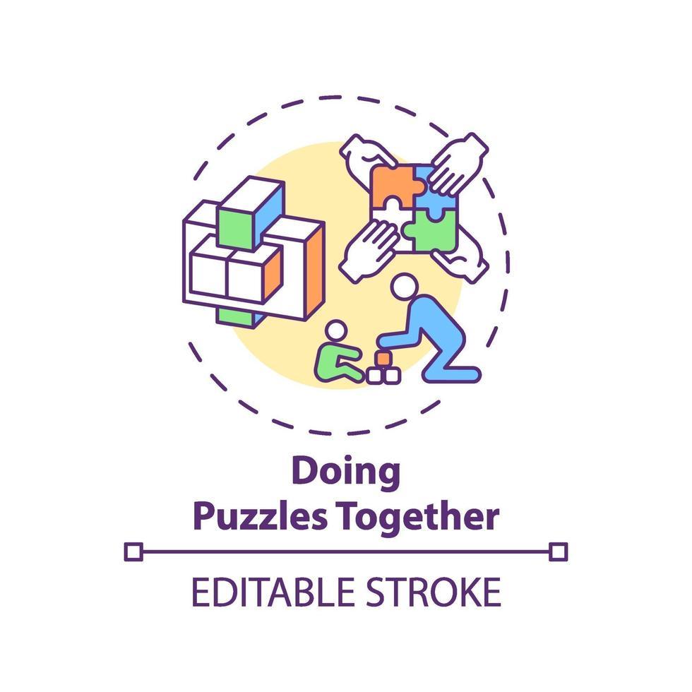 fazendo quebra-cabeças juntos ícone do conceito vetor