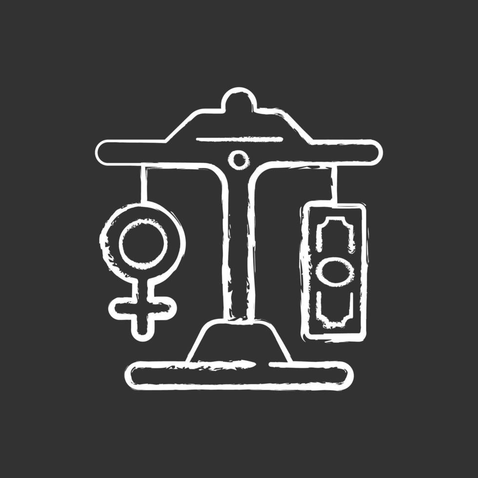 ícone de giz branco de igualdade de remuneração em fundo preto vetor