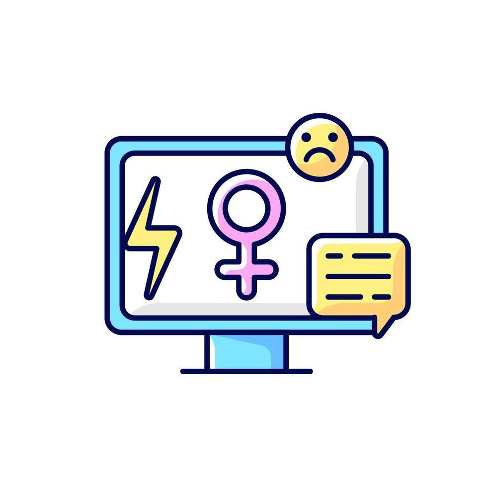 ícone de cor rgb de sexismo de mídia vetor