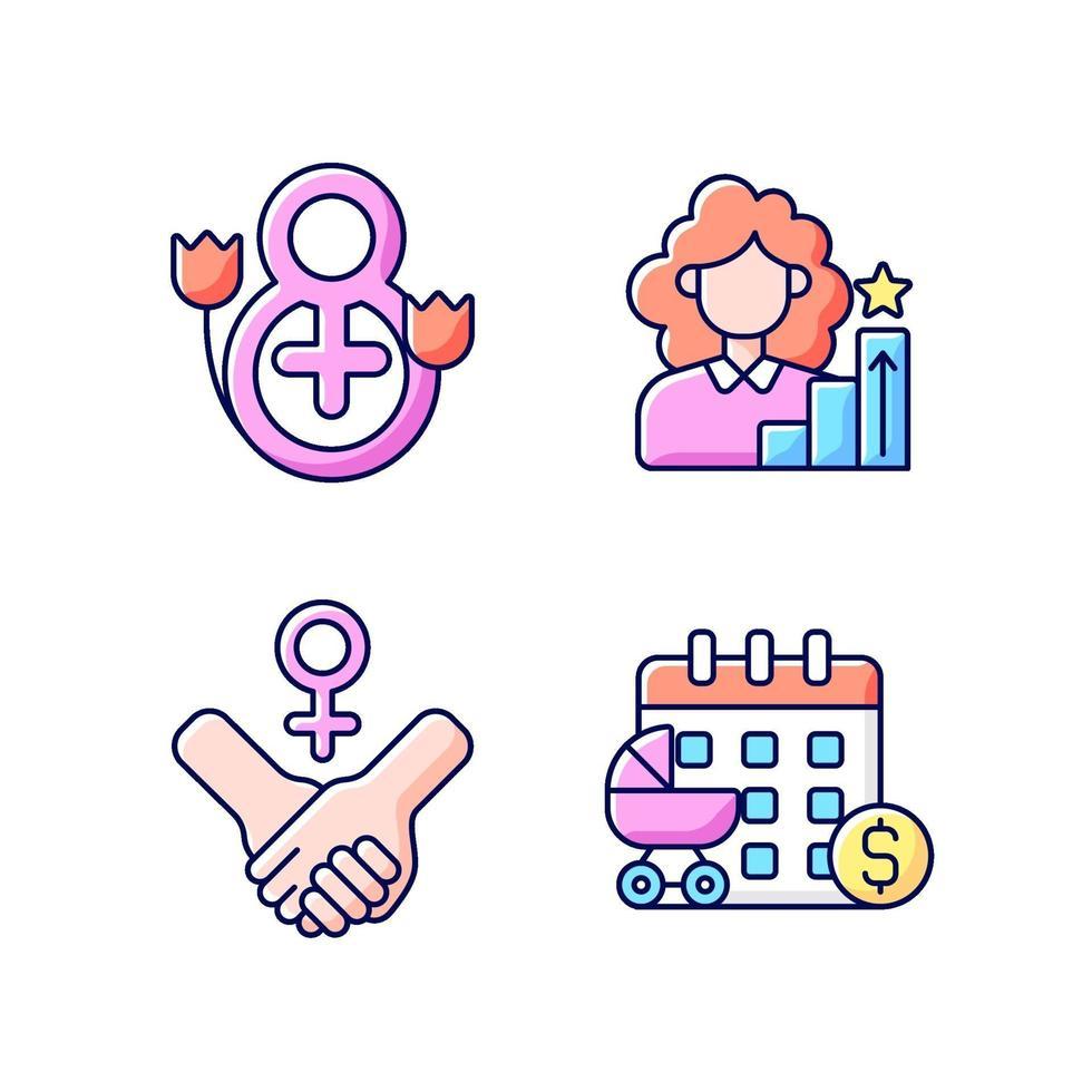 conjunto de ícones de cores rgb feminismo vetor