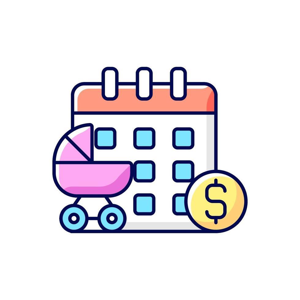 ícone colorido rgb de licença maternidade paga vetor