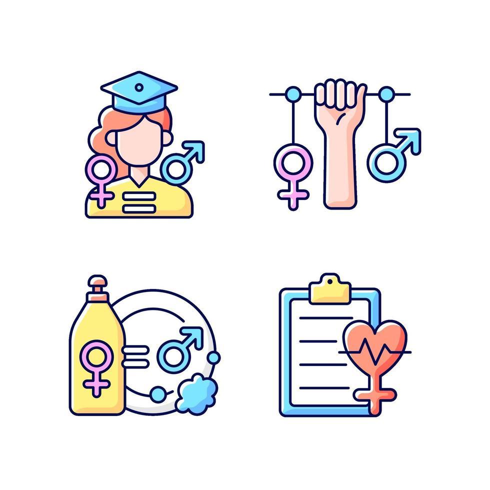 oportunidades iguais de educação conjunto de ícones de cores rgb vetor