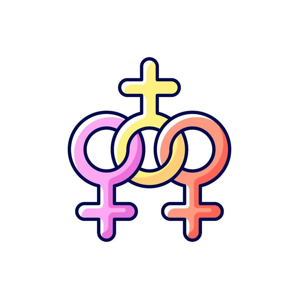 ícone de cor rgb da comunidade feminina vetor