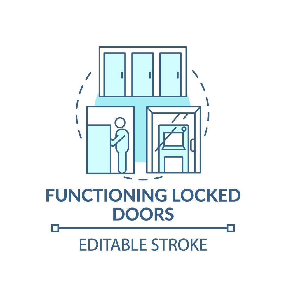 ícone de conceito de porta trancada em funcionamento vetor