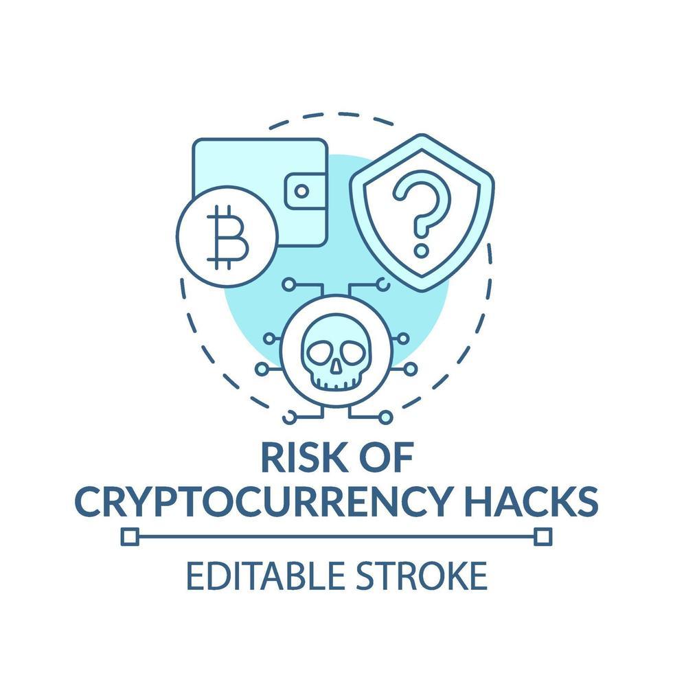 risco de criptomoeda ícone do conceito de hacks vetor
