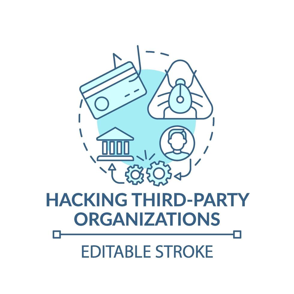 hackeando o ícone do conceito de organizações de terceiros vetor