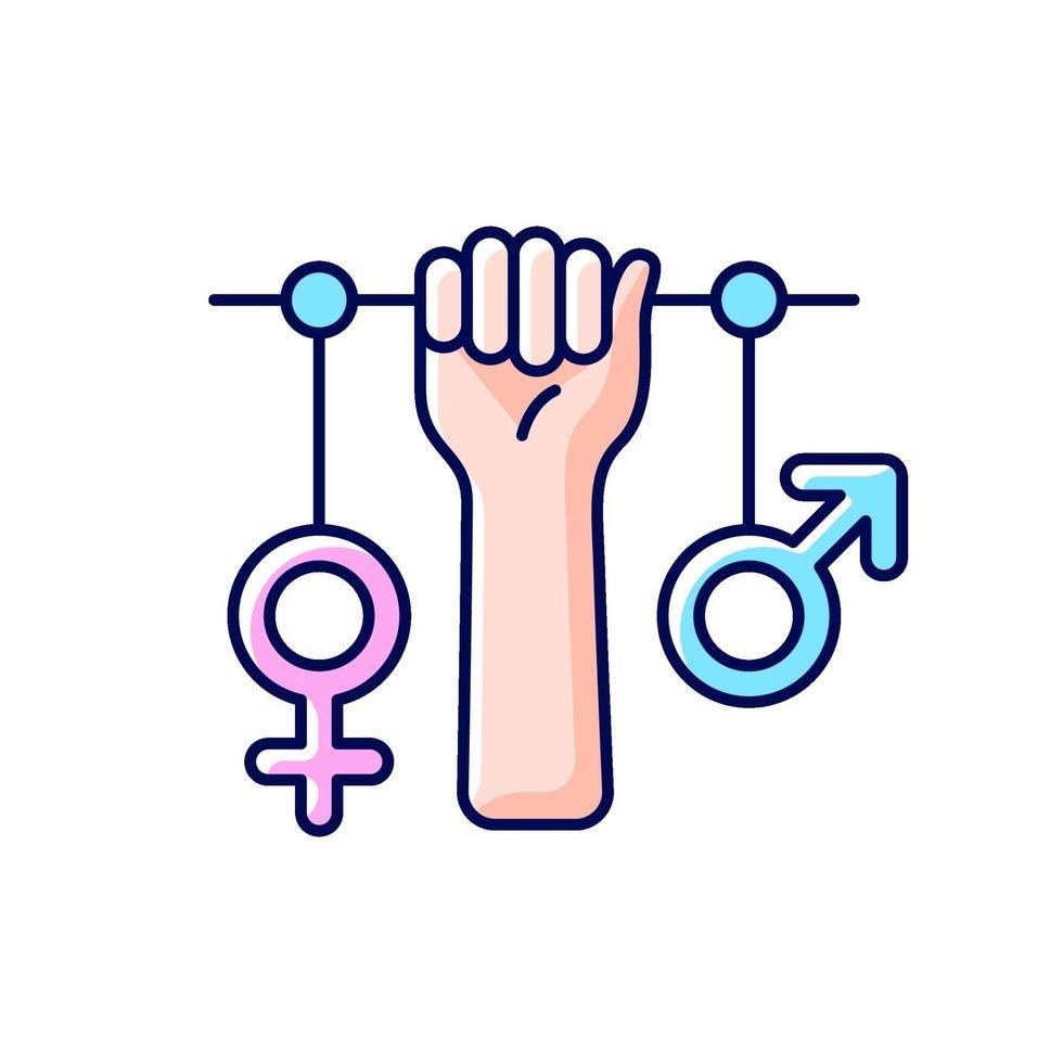 ícone de cor rgb feminismo vetor