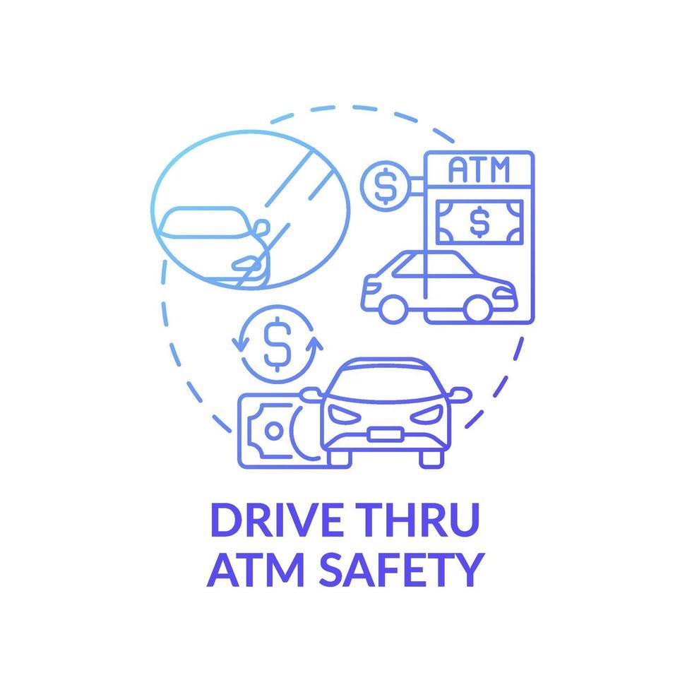 ícone do conceito de segurança drive thru atm vetor