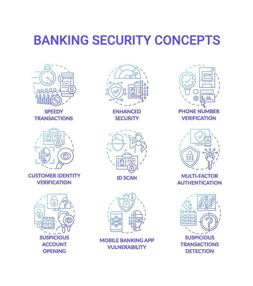 conjunto de ícones de conceito de segurança bancária vetor
