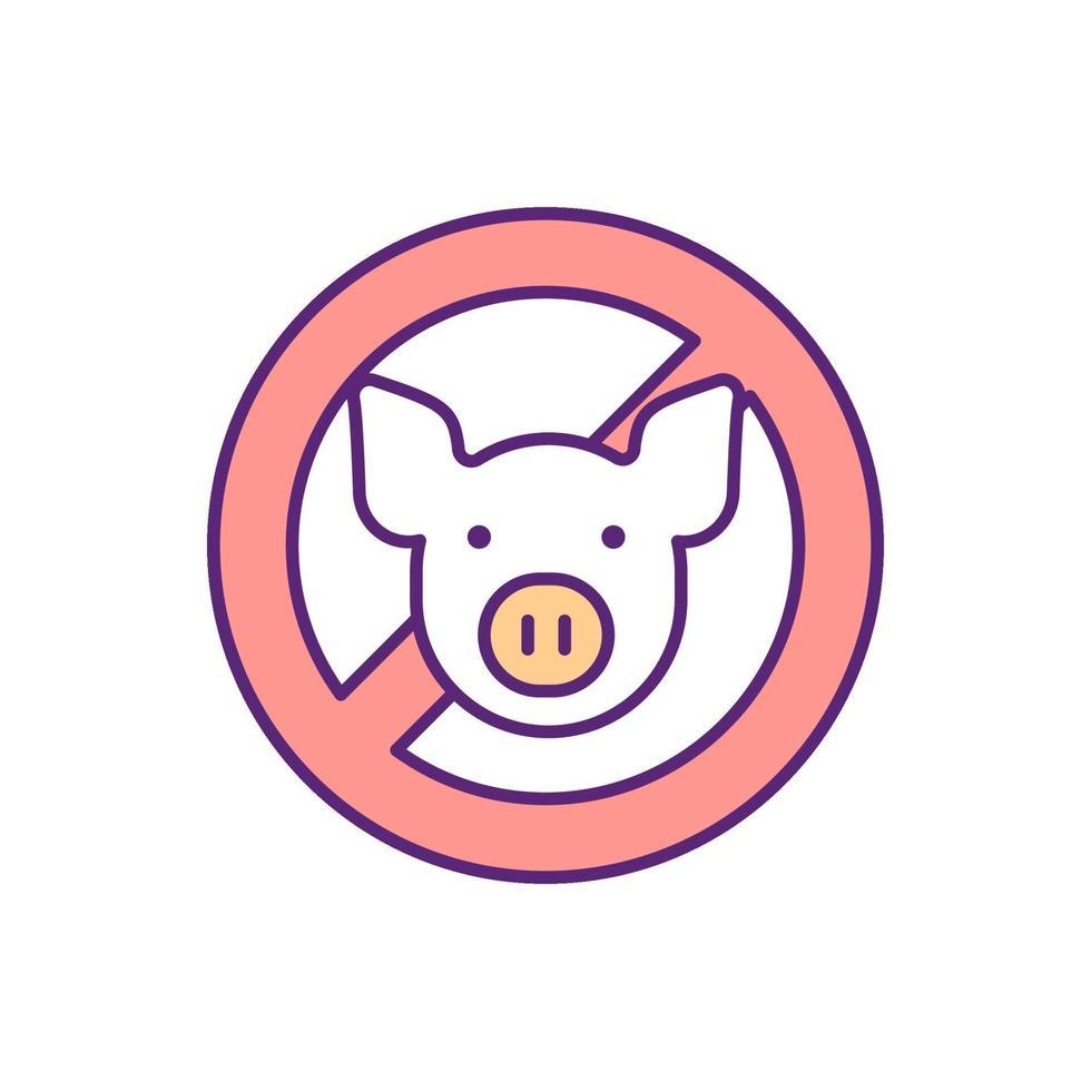 nenhum ícone de cor pig rgb vetor
