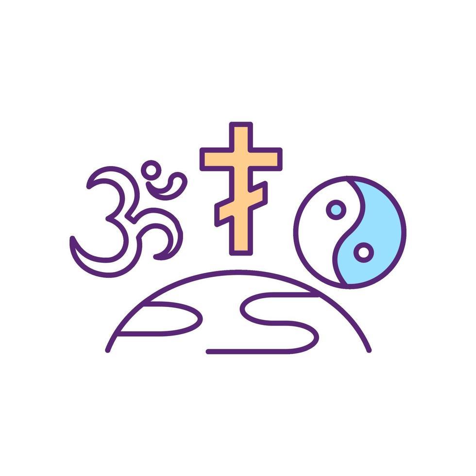 ícone de cor rgb de religiões mundiais vetor