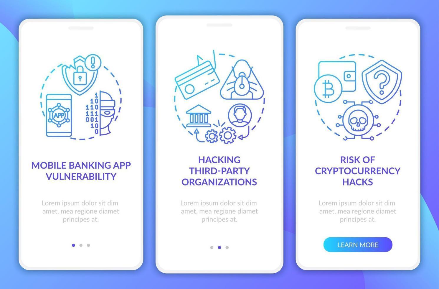 Motivos de violação de segurança bancária integração tela da página do aplicativo móvel com conceitos vetor