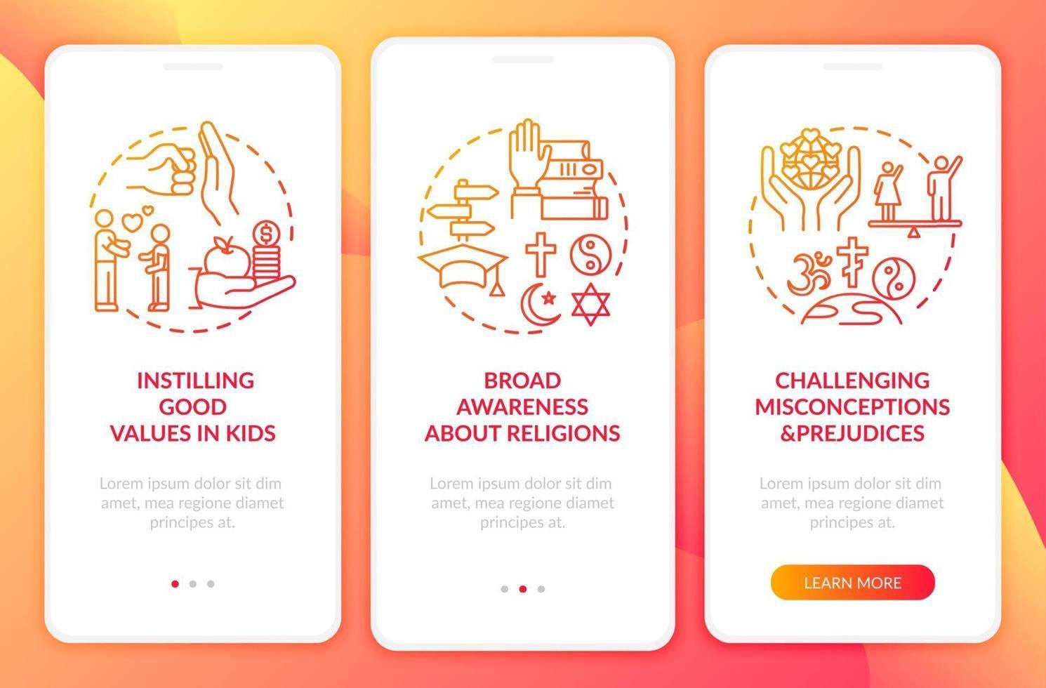 valor da religião vermelho na tela da página do aplicativo móvel com conceitos vetor