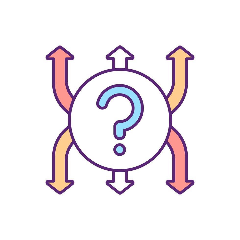 decisão para o ícone de cor rgb de direção vetor
