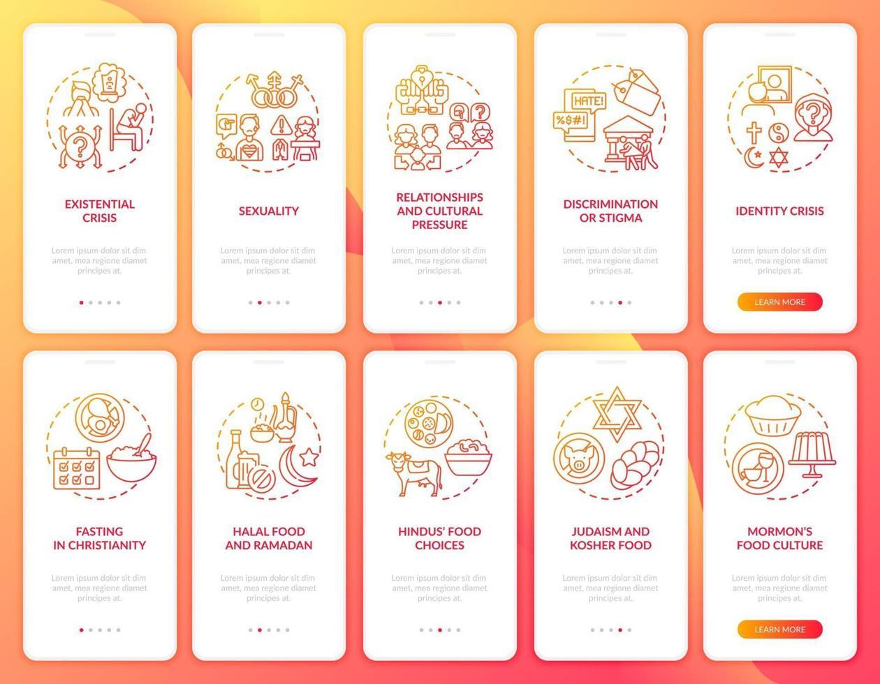 tela vermelha da página do aplicativo móvel de integração das religiões mundiais com o conjunto de conceitos vetor