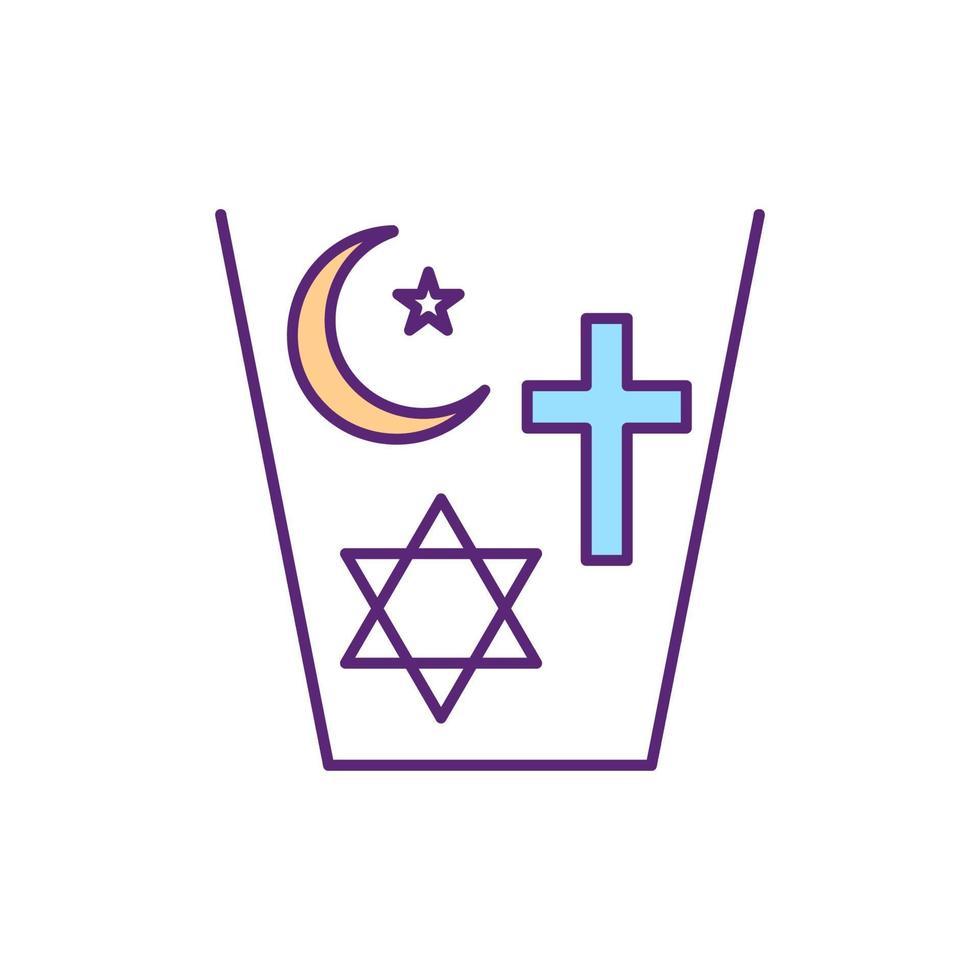 ícone de cor rgb de religiões coexistentes vetor