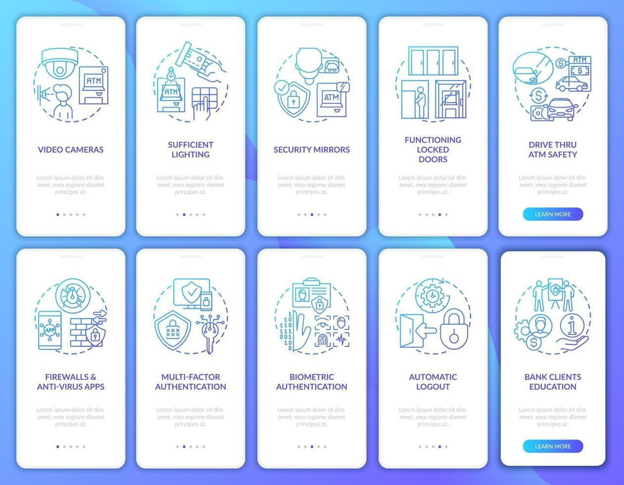 tela da página do aplicativo móvel de integração de segurança bancária com conjunto de conceitos vetor