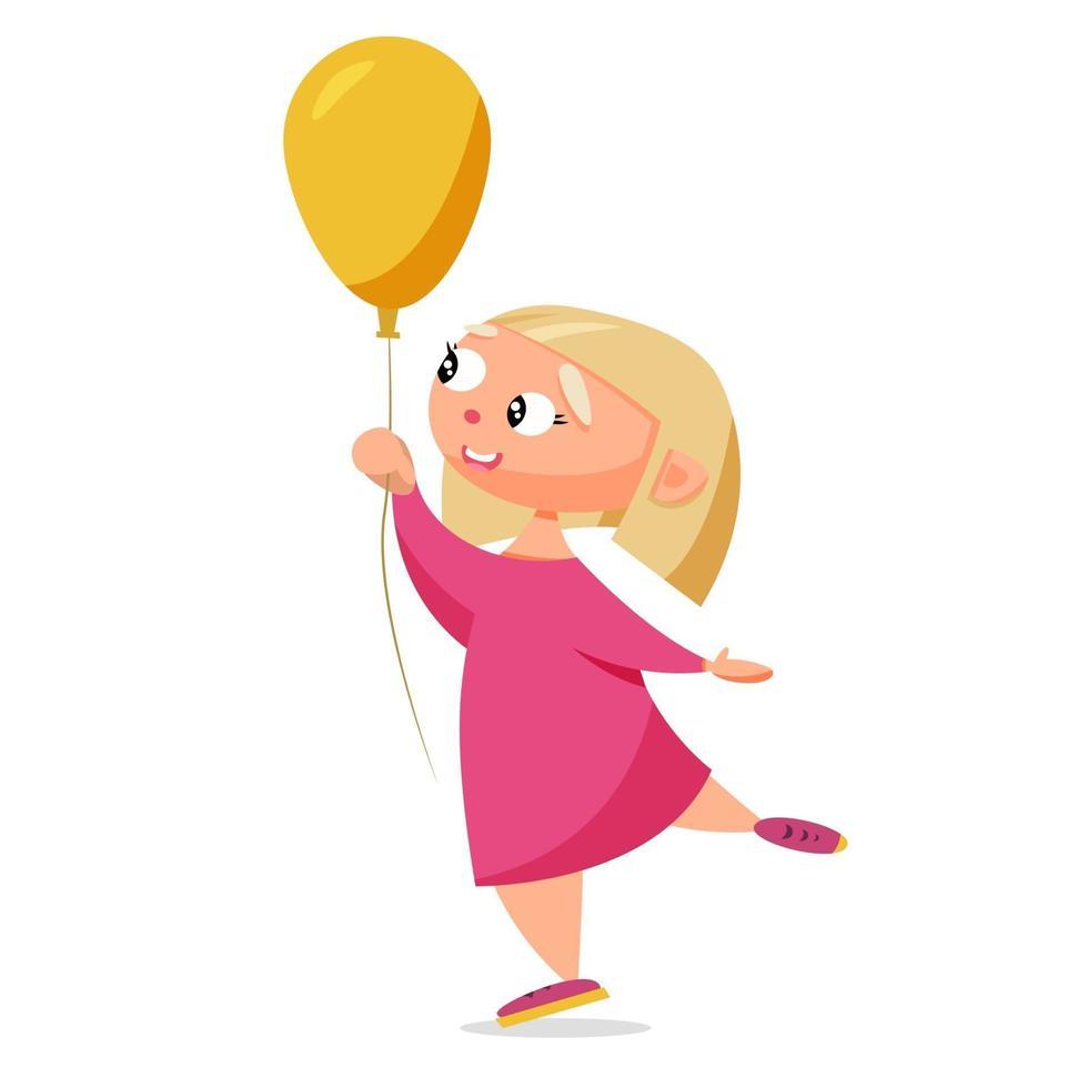 linda garota com um balão vetor