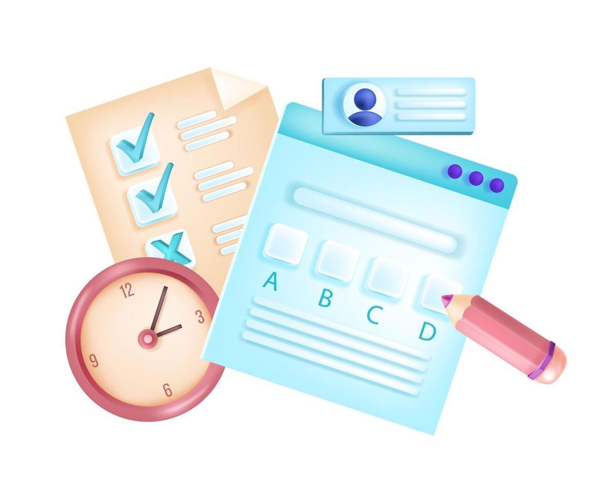 exame de internet online, teste de escola de web de vetor, formulário de questionário de exame, lista de verificação, relógio. conceito de educação digital isolado de e-learning, lápis, cronômetro. exame universitário online, pesquisa, documentos vetor