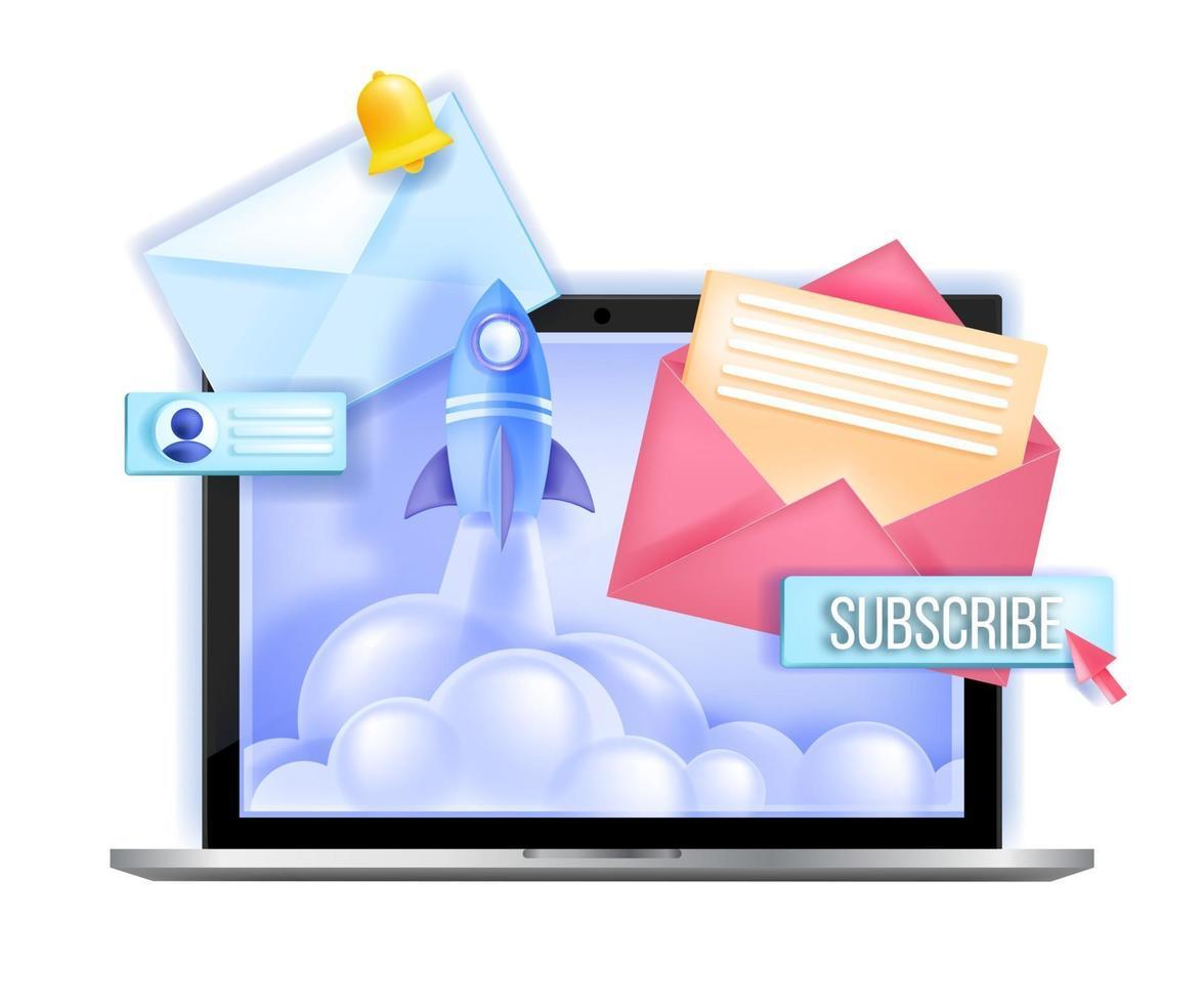 inscrever-se boletim informativo on-line e-mail marketing ilustração vetorial, lançamento de foguete, tela do laptop. comunicação com a internet, conceito de rede, botão de assinatura, cartas. assinar boletim informativo ícone de negócios vetor