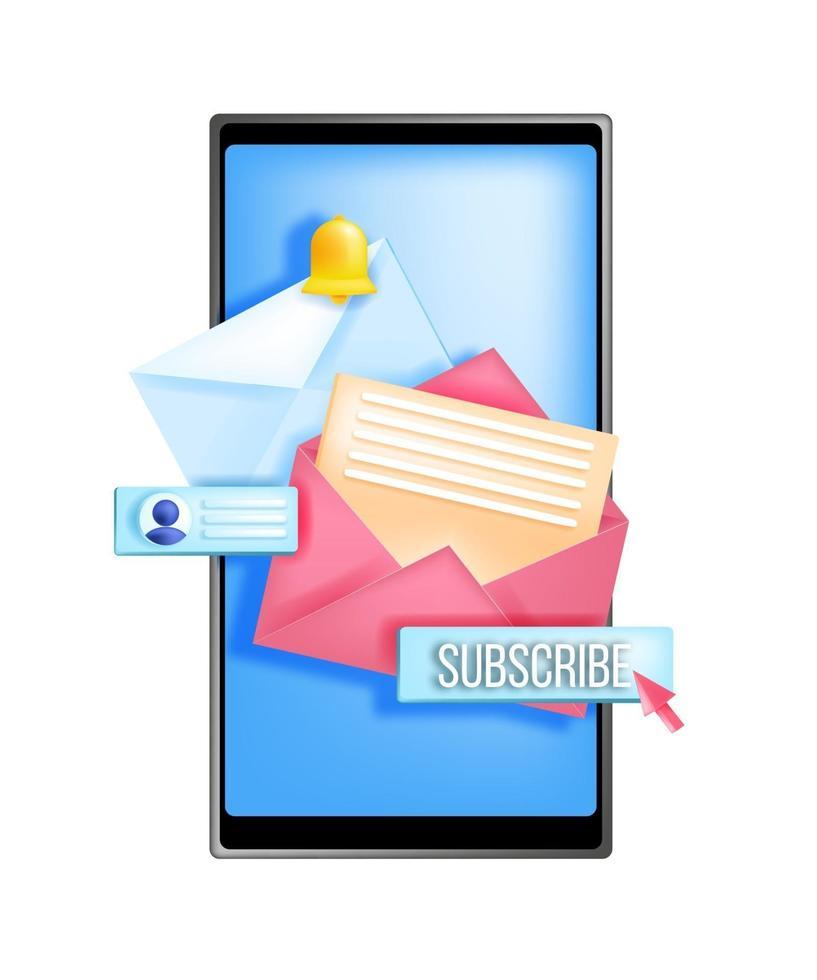 assinar boletim informativo, ilustração em vetor marketing por e-mail na internet, tela do smartphone, envelope aberto. conceito de mídia social online, botão, letras, sino de notificação. inscrever-se no aplicativo de rede de boletins informativos
