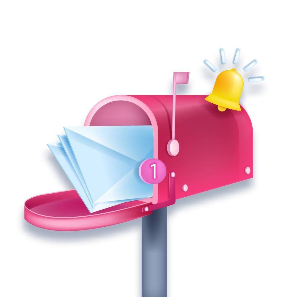 ilustração em vetor caixa de correio rosa 3d notificação, boletim informativo, envelopes, número um, sino isolado no branco. e-mail, conceito de negócio postal de entrega de carta. abrir newsletter caixa de correio internet web logo