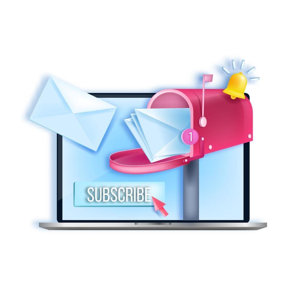 conceito de marketing de internet do vetor de assinatura de boletim informativo, tela do laptop, caixa de correio aberta, envelopes. ilustração de lista de mala direta de negócios online, campainha de notificação, botão. logotipo de assinatura de boletim informativo