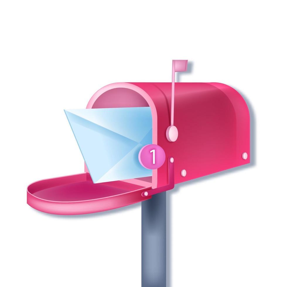 notificação de e-mail de caixa de correio tradicional rosa vetor, novo conceito de carta isolado no envelope branco e fechado. pós-entrega ilustração 3d, alerta, número um. notificação de mensagem na caixa de correio da internet vetor