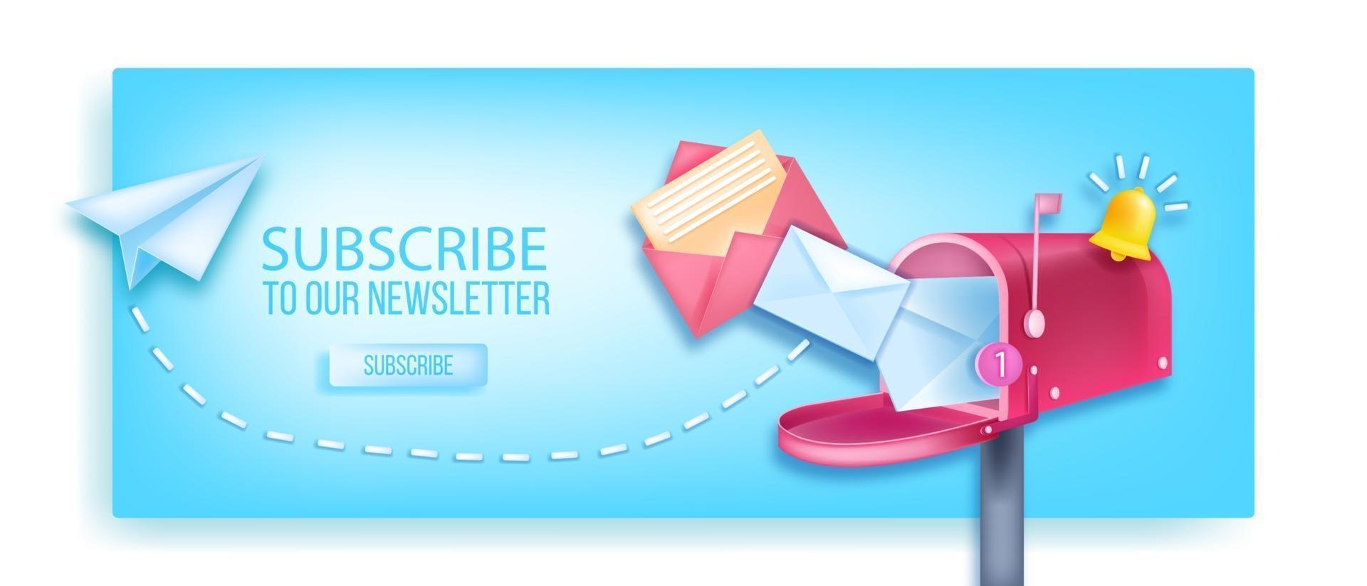 subscreva a nossa newsletter vector 3d banner, caixa de correio aberta, avião de papel, campainha de notificação, envelopes. marketing na internet, conceito de página da web de negócios on-line, botão. inscreva-se no boletim informativo de fundo