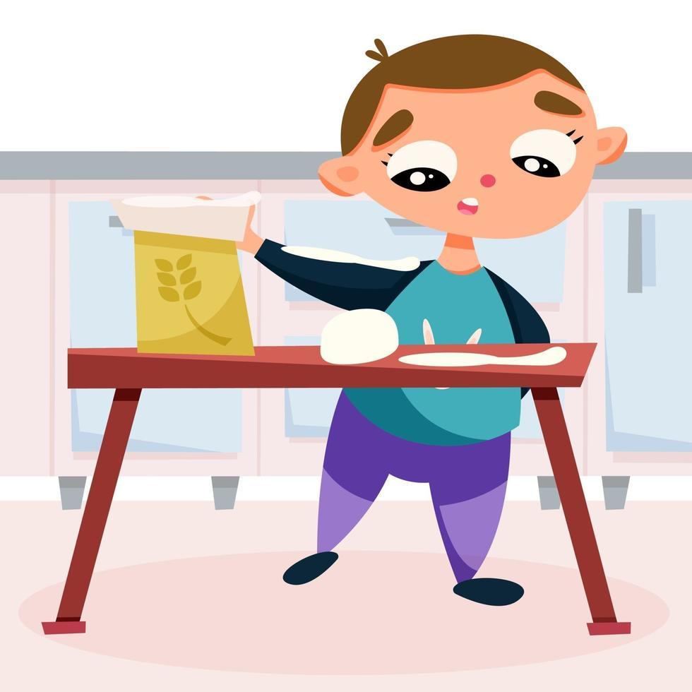 criança na cozinha fazendo massa de biscoito vetor