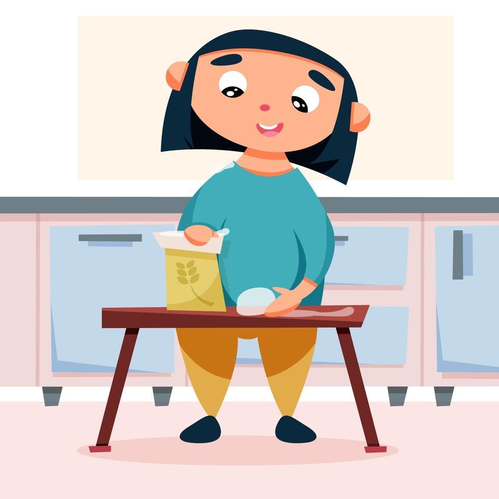 garota prepara massa na cozinha vetor