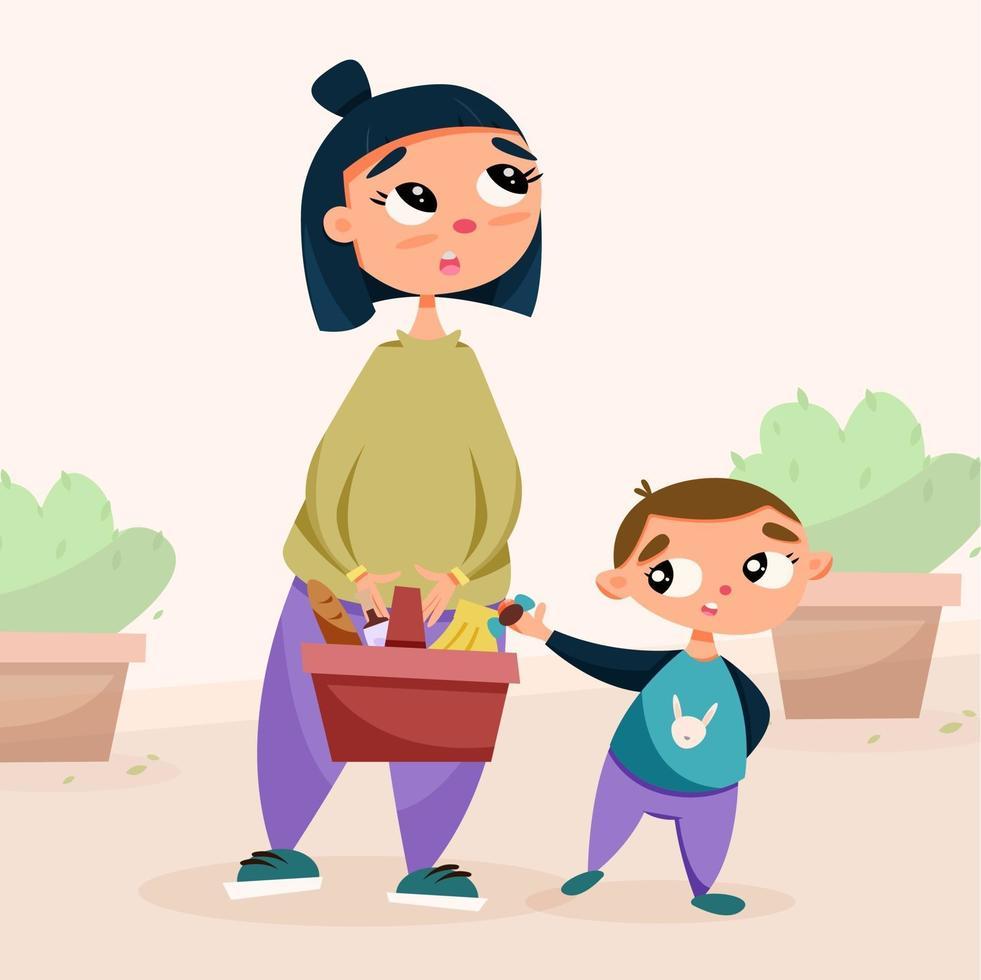 mãe e filho com compras na loja vetor