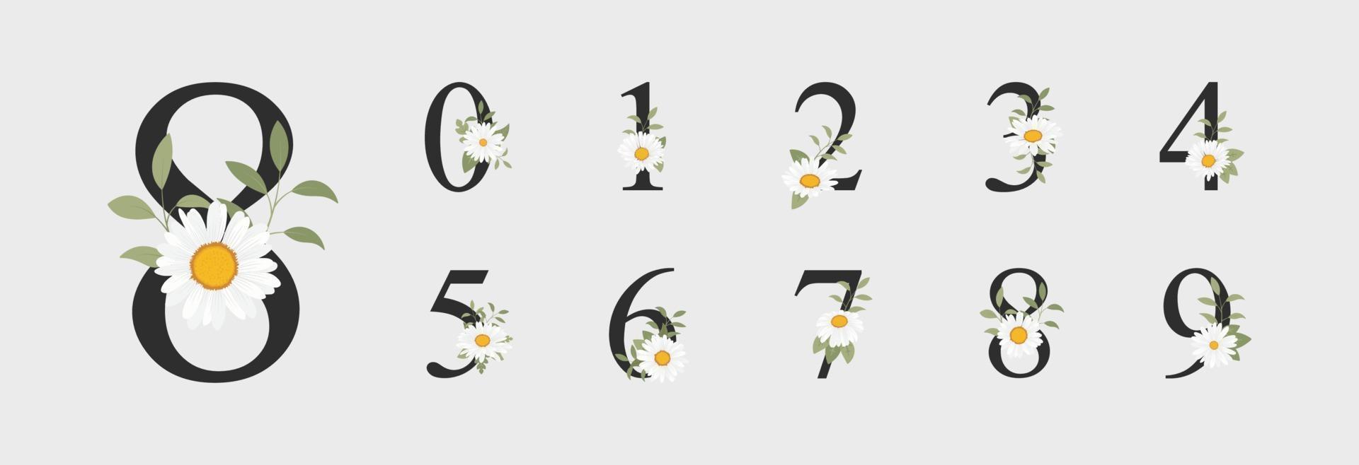 linda decoração numérica para casamento com flor vetor