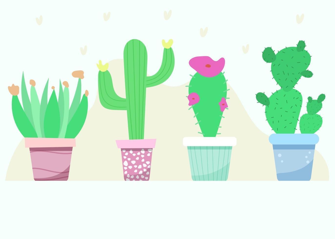 conjunto de cactos de plantas de interior vetor