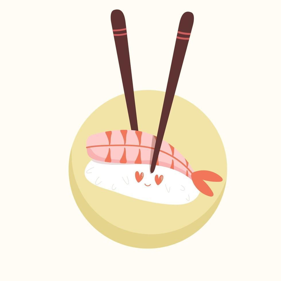 sushi fofo com olhos engraçados vetor