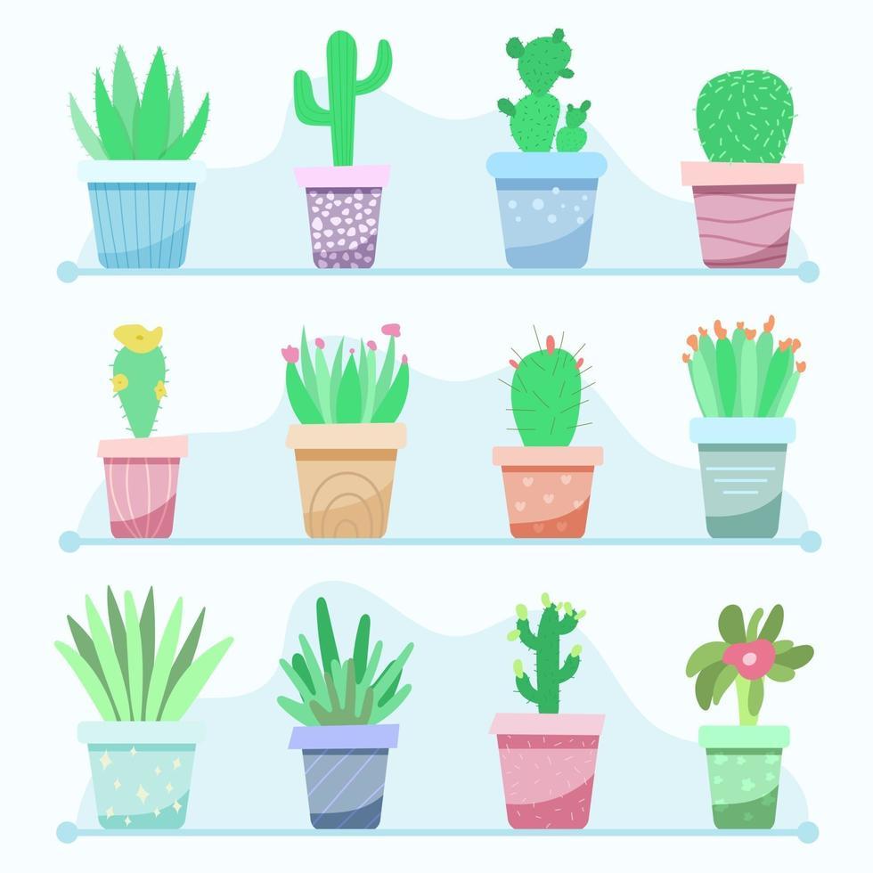 grande conjunto de plantas de interior em vasos vetor