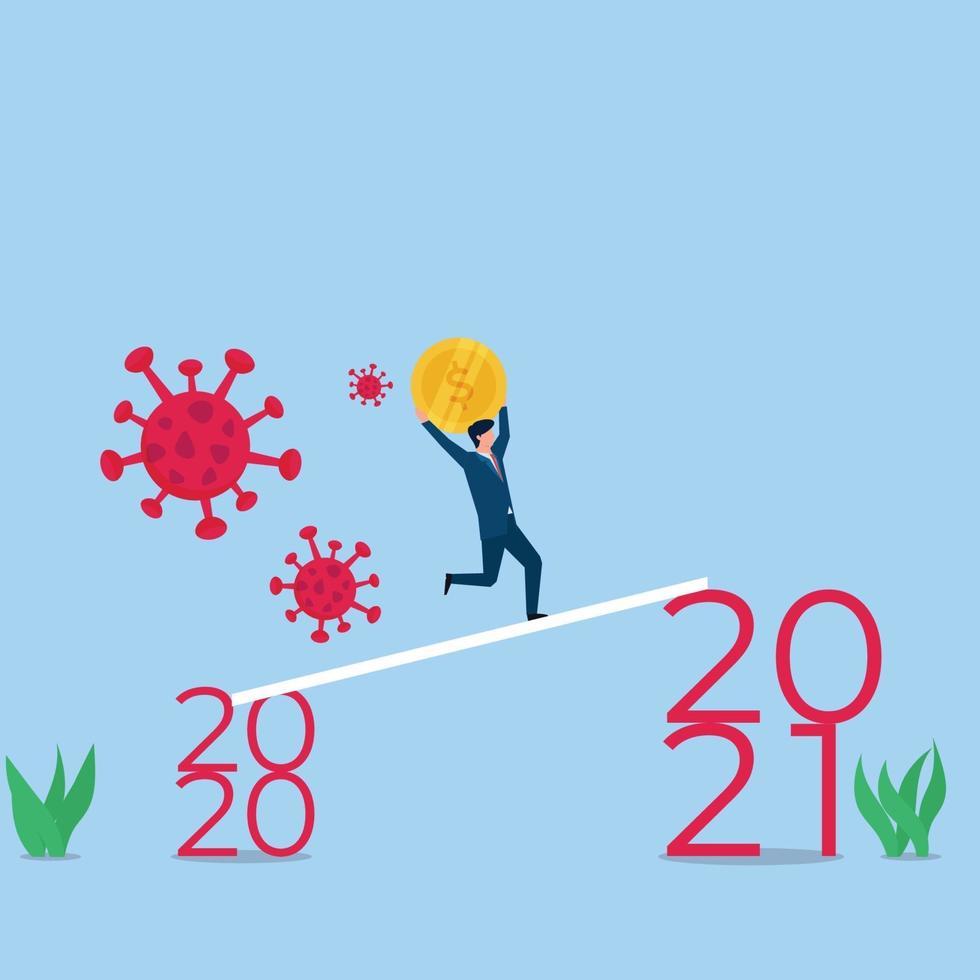 ilustração de conceito de vetor plano de negócios. empresário traz moeda para o próximo ano e foge de vírus