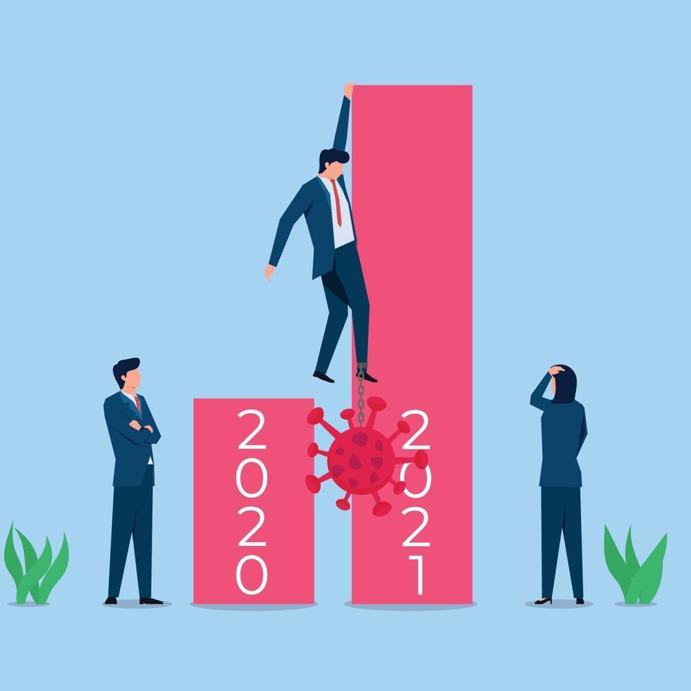 ilustração de conceito de vetor plano de negócios. empresário sobe barra para ficar longe do vírus.