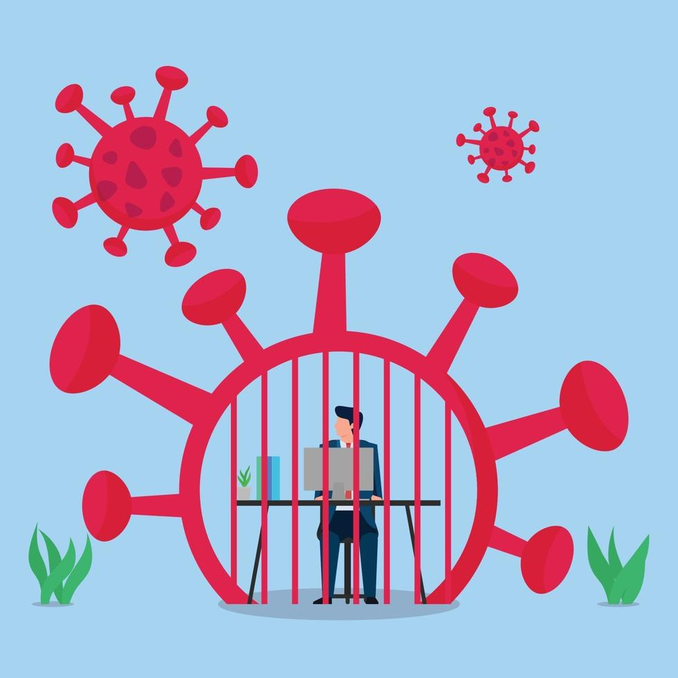 ilustração de conceito de vetor plano de negócios. homem trabalha dentro da prisão de vírus.