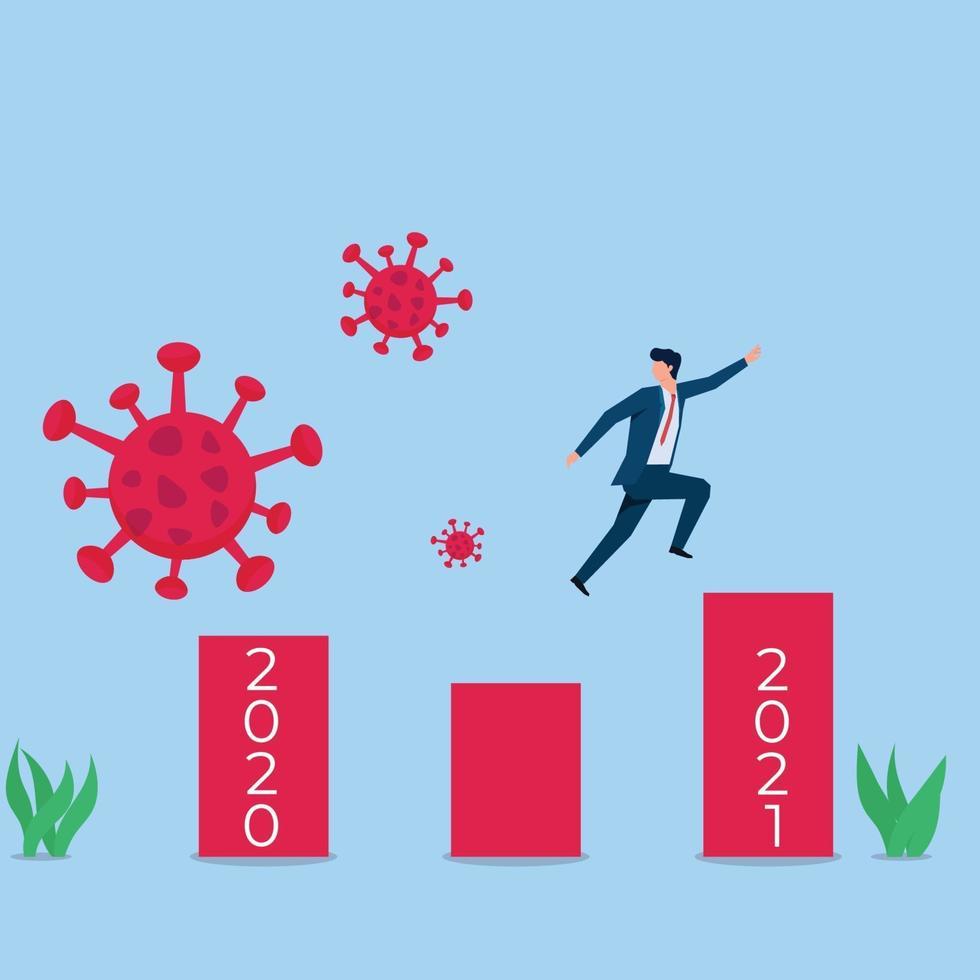 ilustração de conceito de vetor plano de negócios. empresário salta para o próximo ano e foge do vírus.