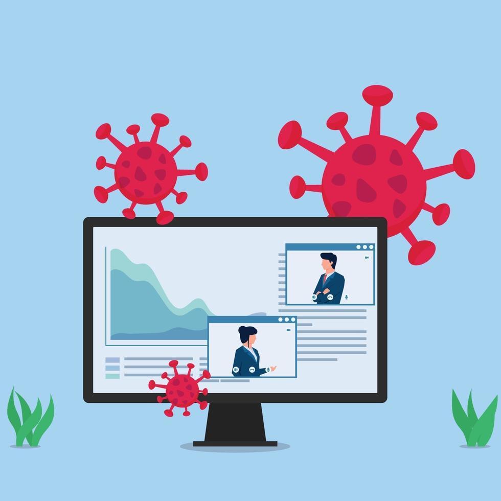 ilustração de conceito de vetor plano de negócios. monitor mostra pessoas fazendo apresentações online sobre pandemia.