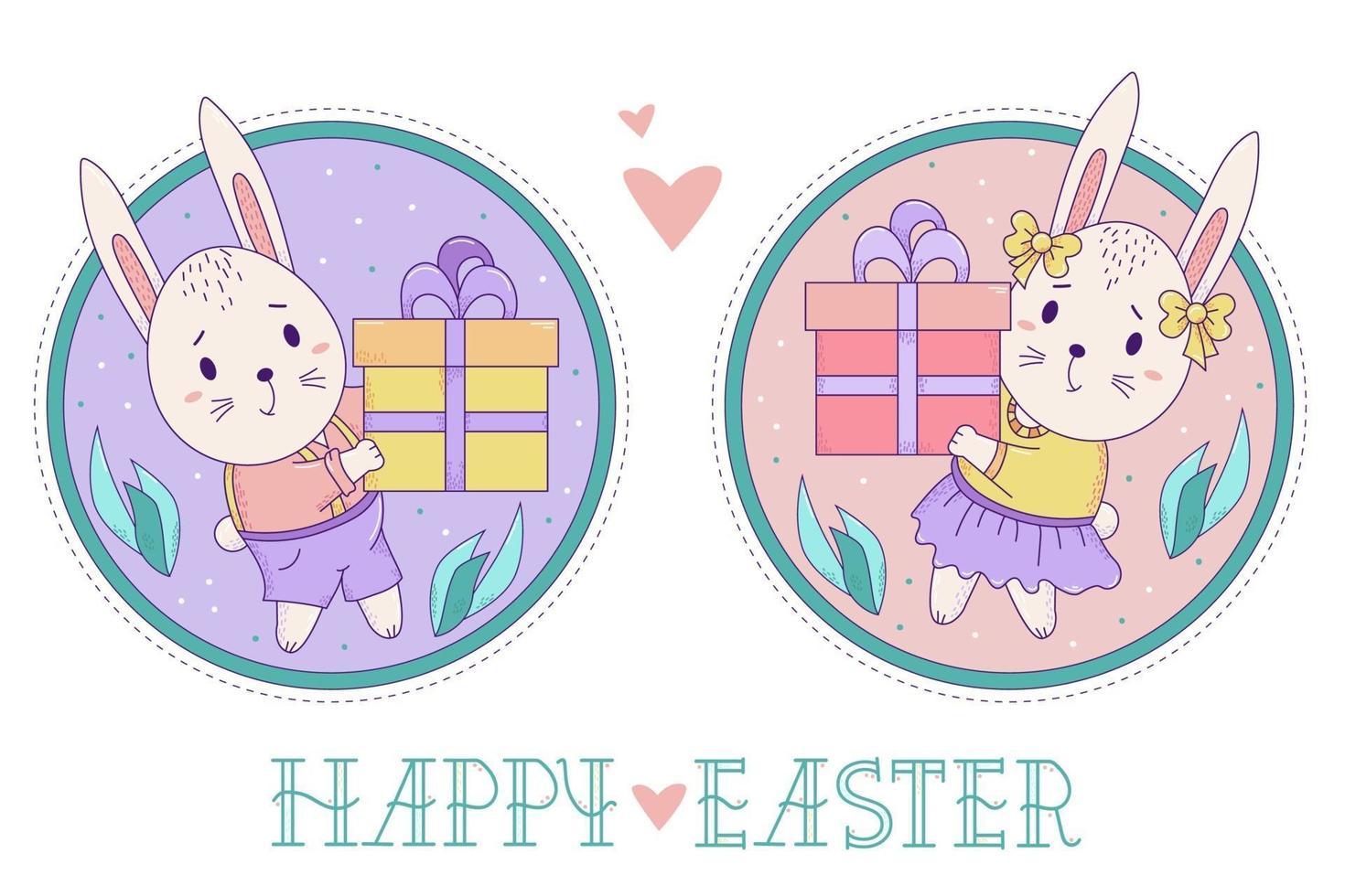 um par de coelhos bonitos. coelhinha da Páscoa e o menino com uma caixa de presente grande em um fundo redondo decorativo com folhas. ilustração em vetor cor. feliz páscoa cartão postal
