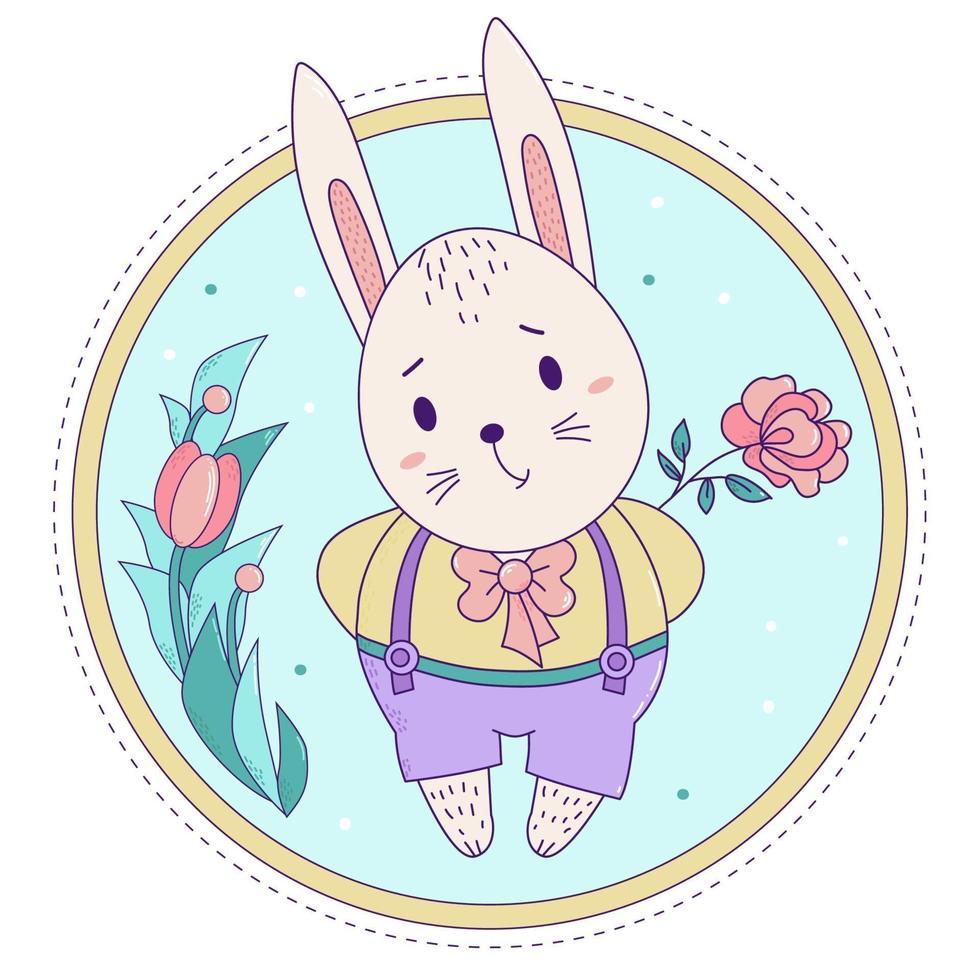 coelho fofo. coelhinho da Páscoa em calças de suspensórios com uma rosa em um fundo floral decorativo. vetor. para cartões com páscoa e aniversário, design e decoração, impressão e decoração vetor