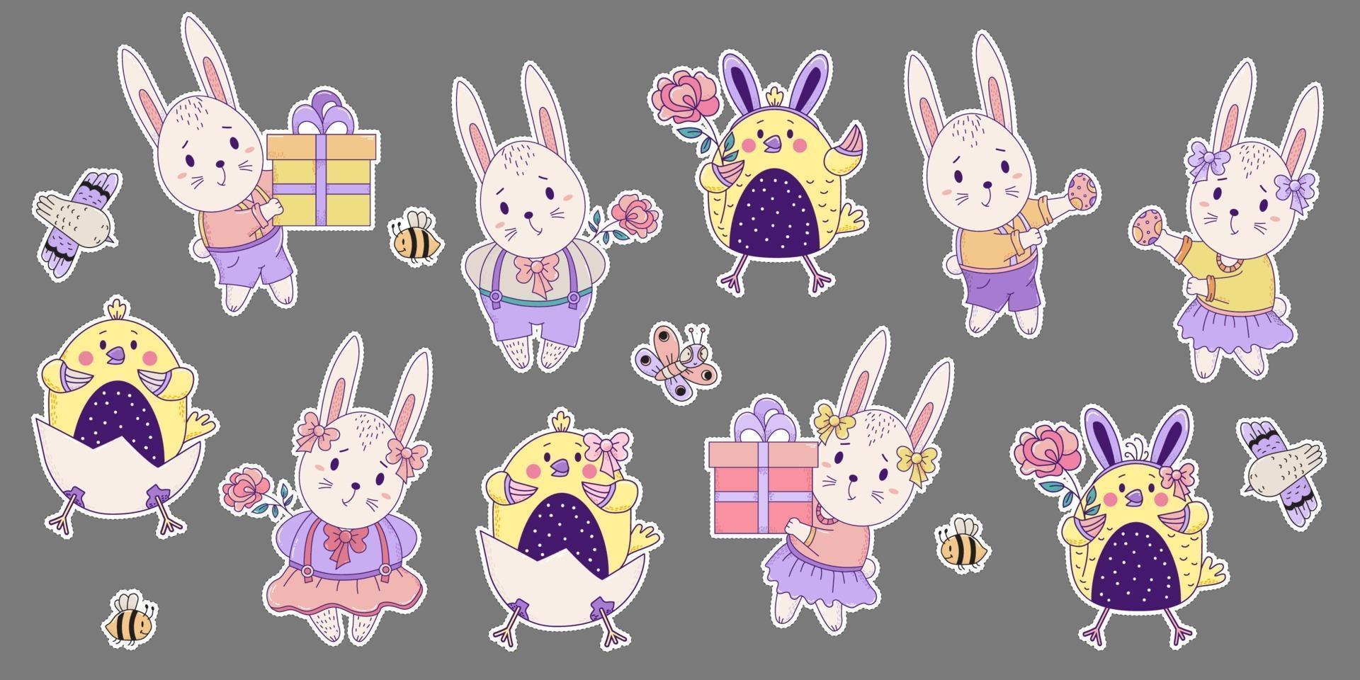 conjunto de adesivos coloridos de insetos e animais fofos. coelhinhos da Páscoa e galinhas - uma menina e um menino com uma grande caixa de presente e uma flor, pássaro, abelhas e borboleta. vetor. para o design feliz páscoa vetor