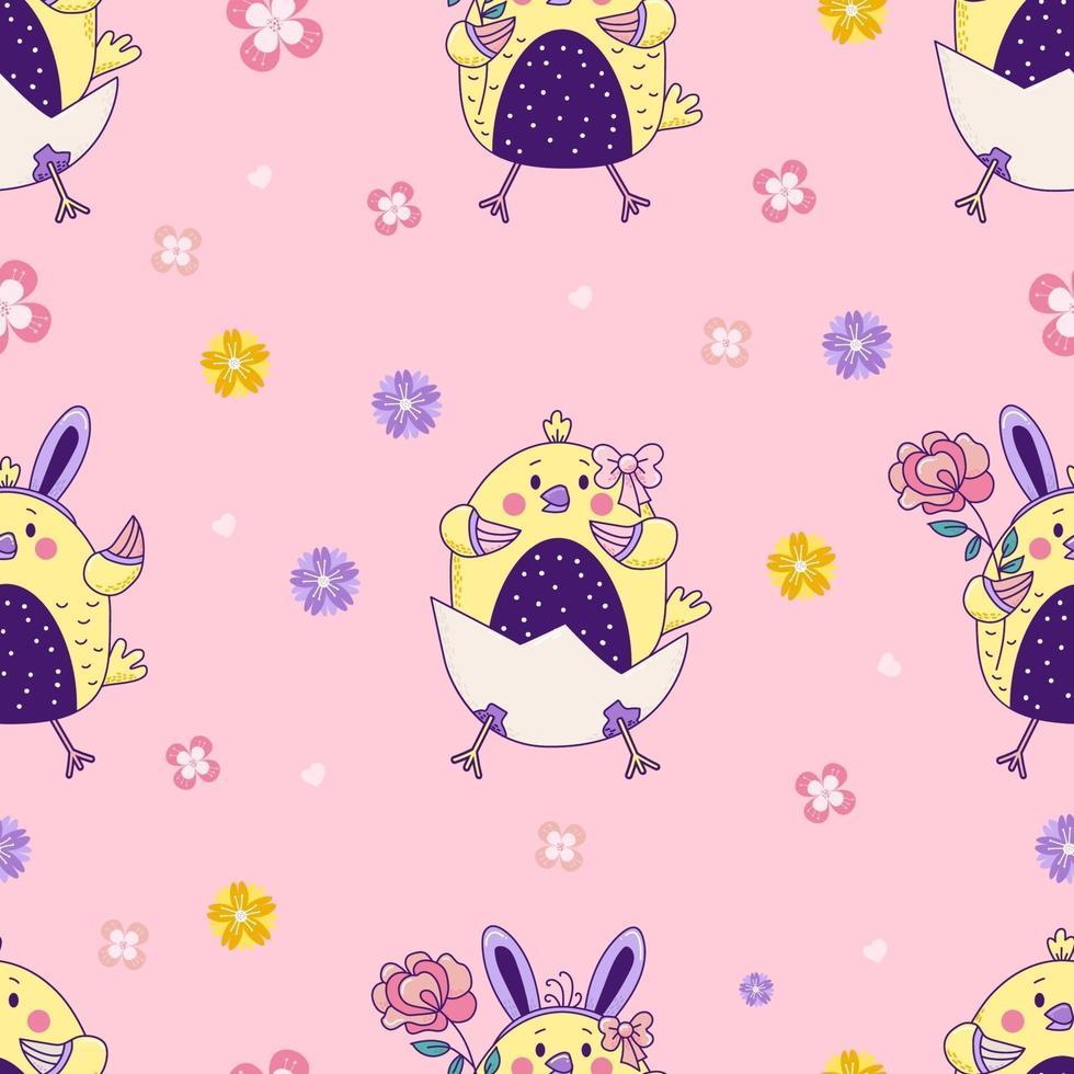 padrão sem emenda com animais fofos. galinhas da Páscoa - menino e menina com orelhas de coelho e uma flor sentar-se em um ovo em um fundo rosa floral. vetor. para design, decoração, impressão, embalagem e papel de parede vetor